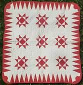 Vintage 1870s Red  White Stars Antique Crib Quilt