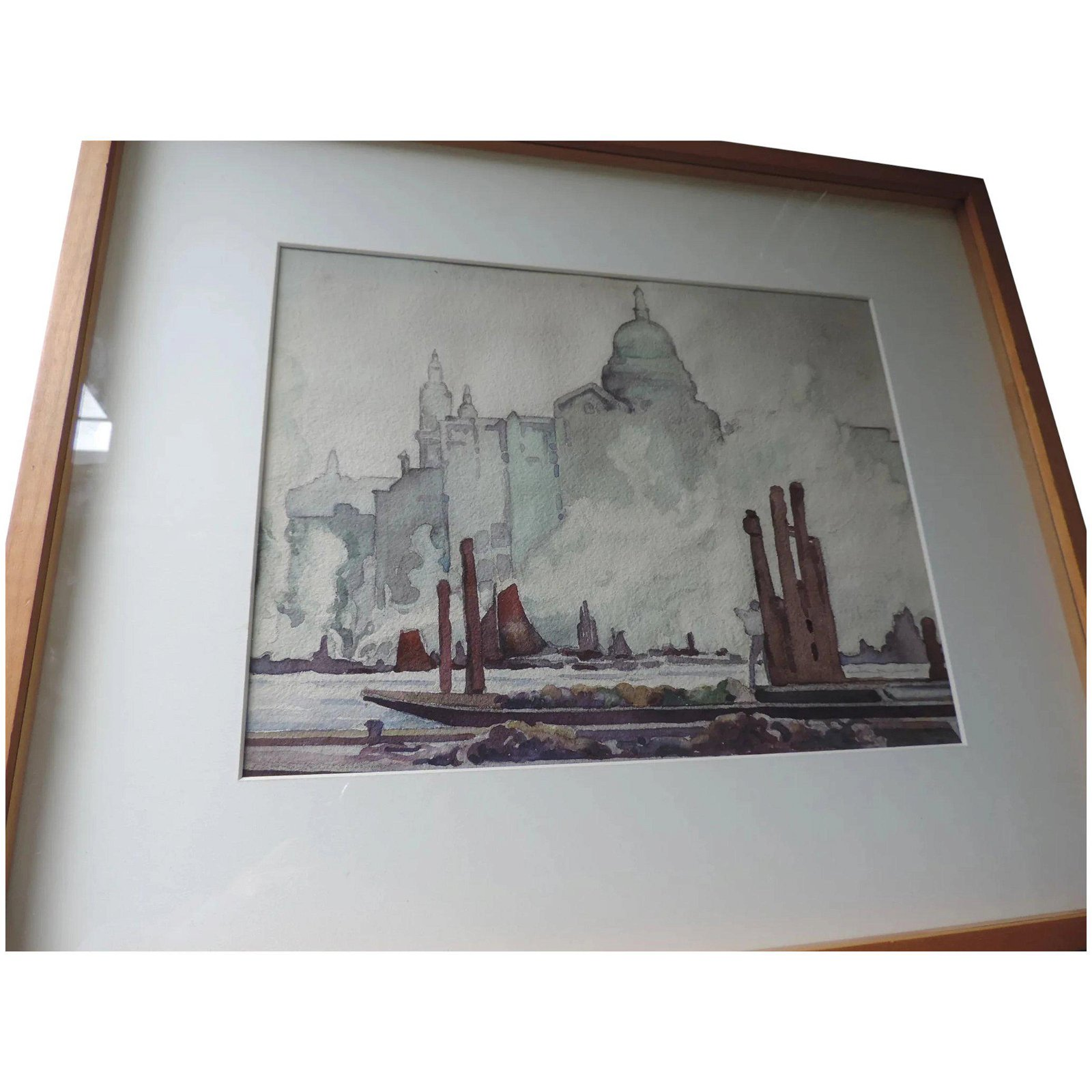 "Watercolor, Venice, Italy, 1945, 10"" X 13"", Framed"