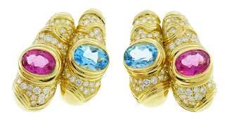 MARINA B Yellow Gold Hoop EARRINGS with Blue Topaz
