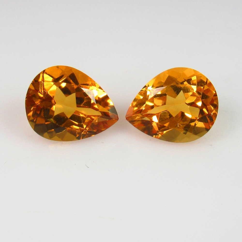 4.71 Ct Genuine Orange Yellow Citrine Pear Pair