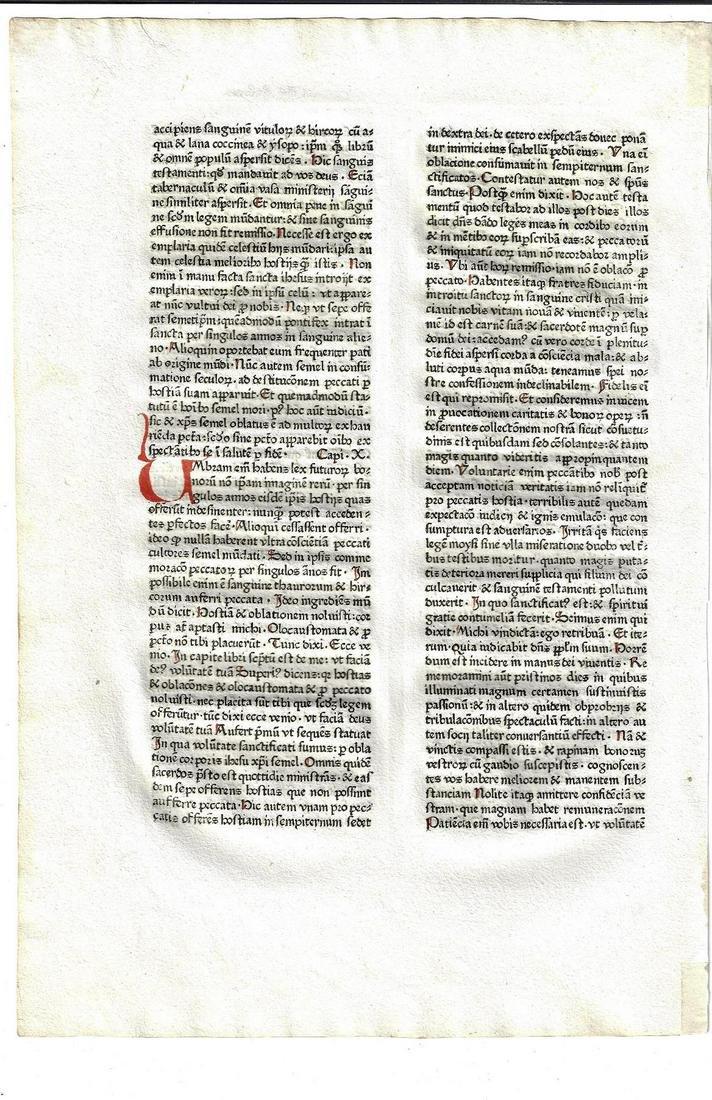 c1485 Latin Bible Leaf w/ Initials