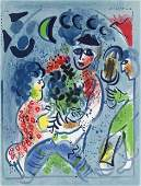 "Marc Chagall original lithograph ""Harlequin with"
