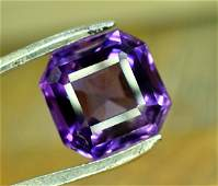 8.25 Carats Top Grade Asscher Cut Eye Clean Purple