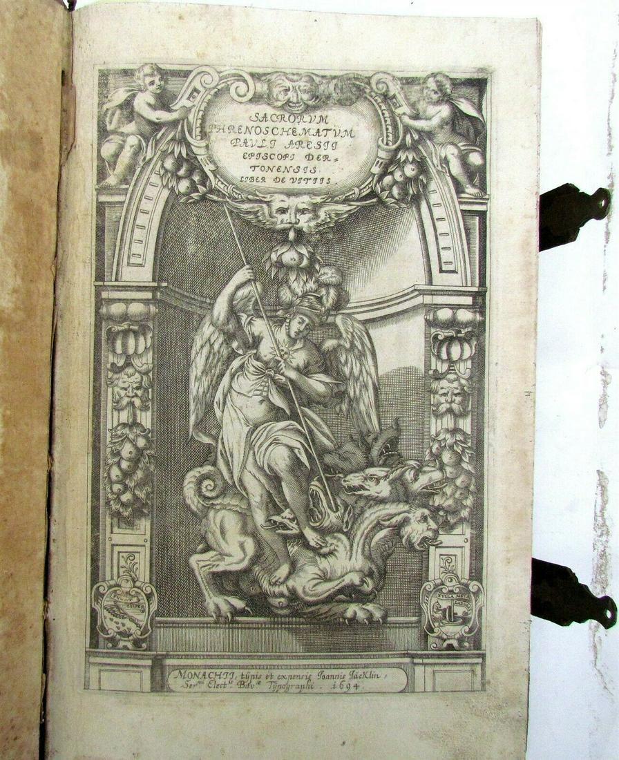 1694 D.PAULI ARESII DE VITIIS antique FOLIO ILLUSTRATED