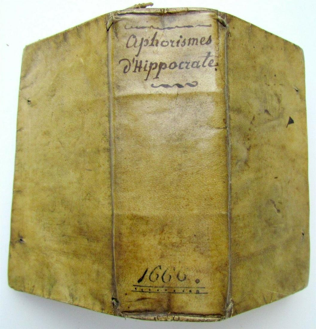 1666 APHORISMES OF HIPPOCRATES in FRENCH VELLUM BINDING