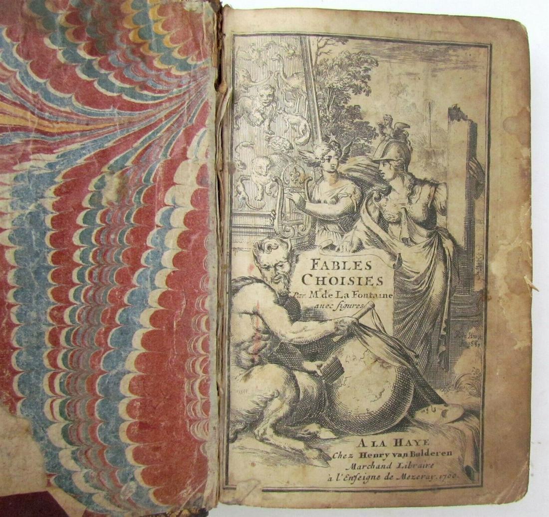 1700 FABLES CHOISIES DE LA FONTAINE ILLUSTRATED antique
