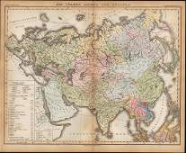 Rare 1st ed 1847 ethno map of EuropeAsia