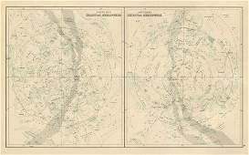 Northern & Southern Celestial Hemispheres. Star charts.
