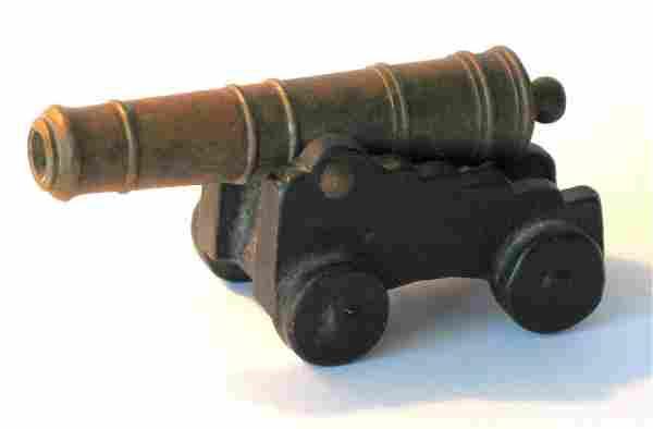 Vintage Cast Iron & Brass Cannon.
