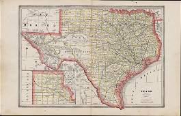Scarce 1883 map of Texas