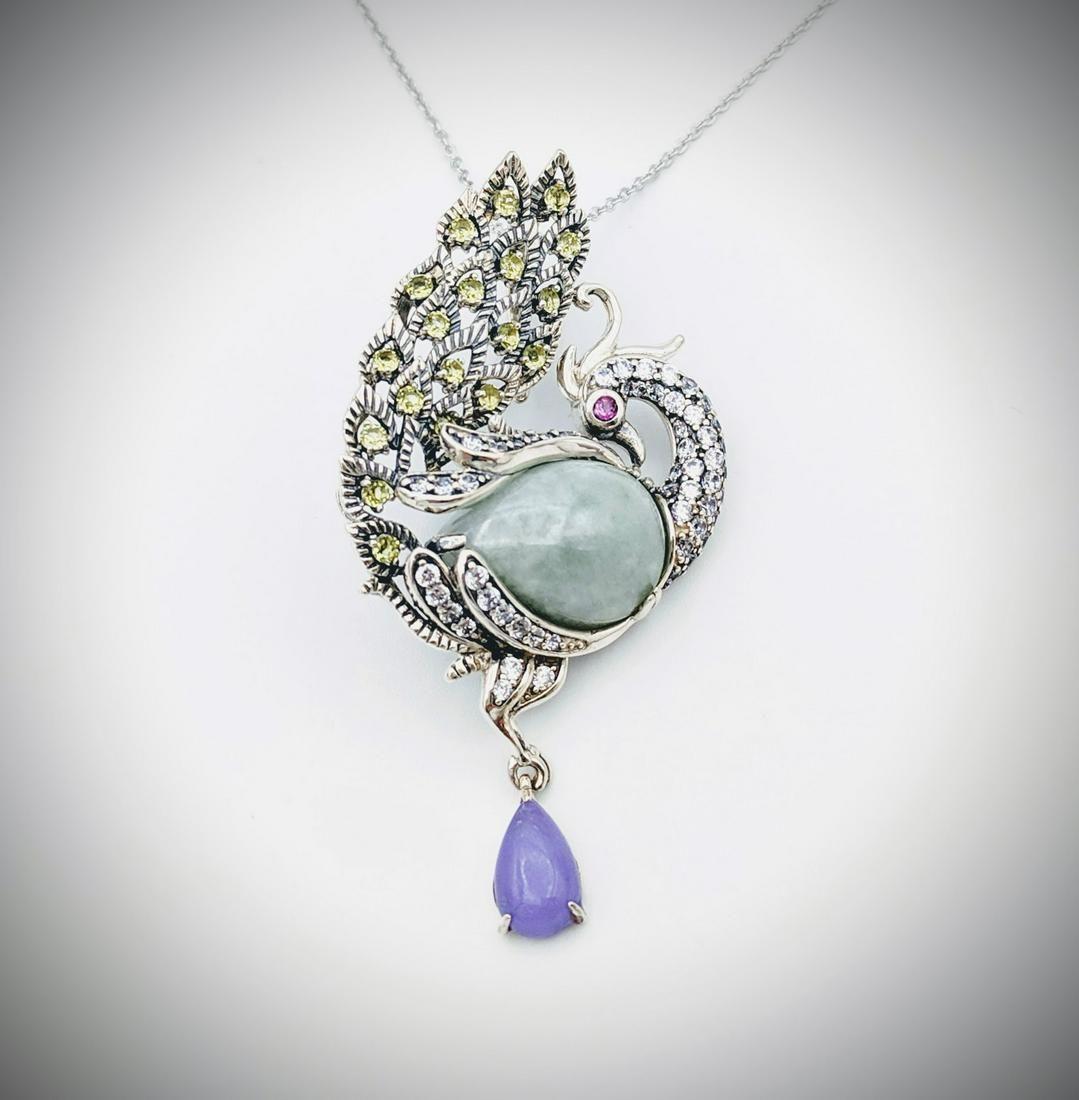 Necklace & Peacock Pendant w Jade, Violet Jade,