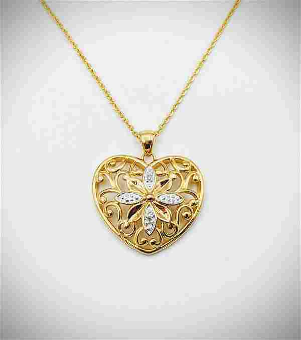 Necklace w Diamond Heart Pendant