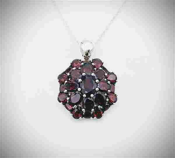 Sterling Silver Necklace w Clustered Pyrope Garnet