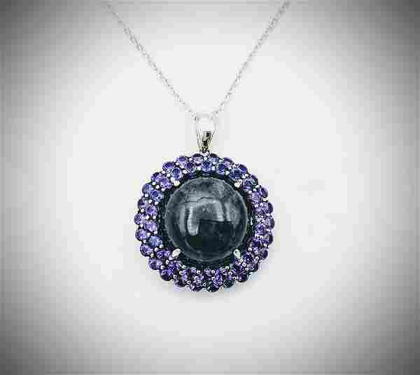 Sterling Silver Necklace w Nuumite & Amethyst Pendant
