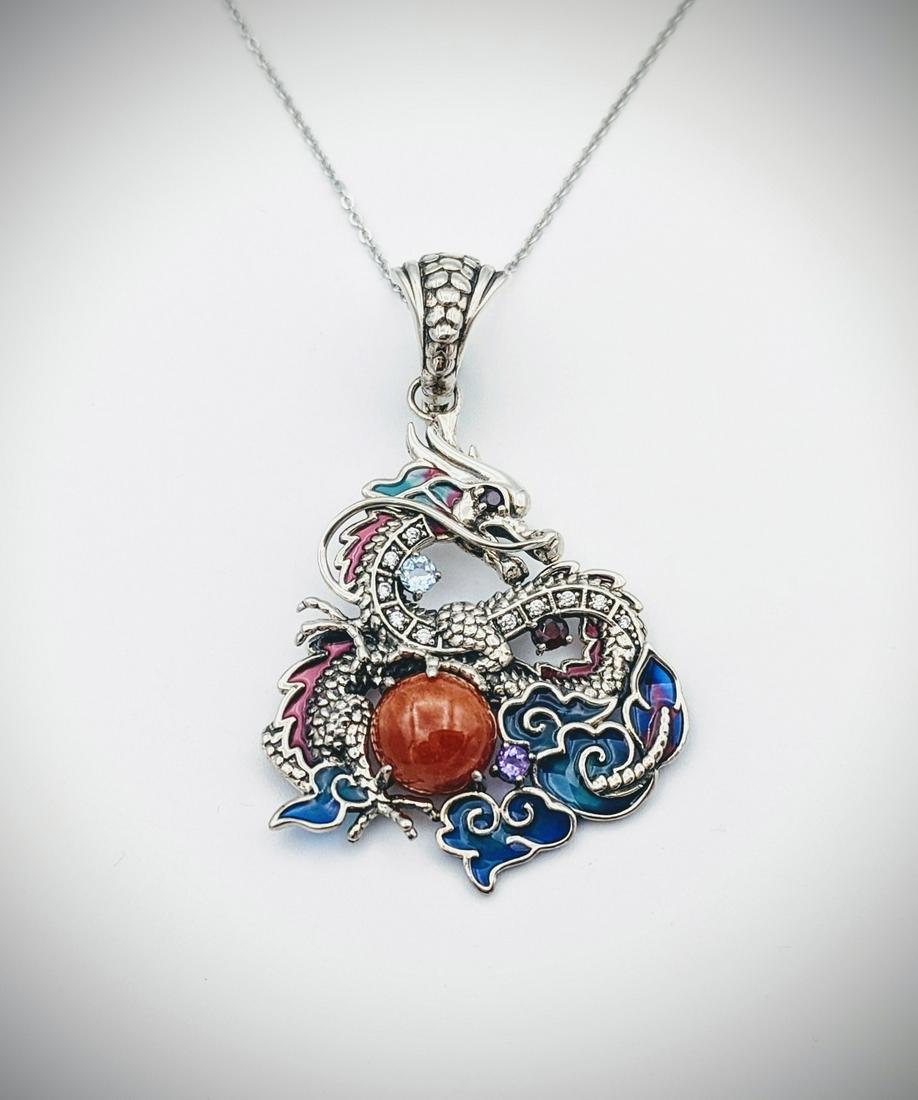 Sterling Silver Necklace, Dragon Pendant w Jasper,
