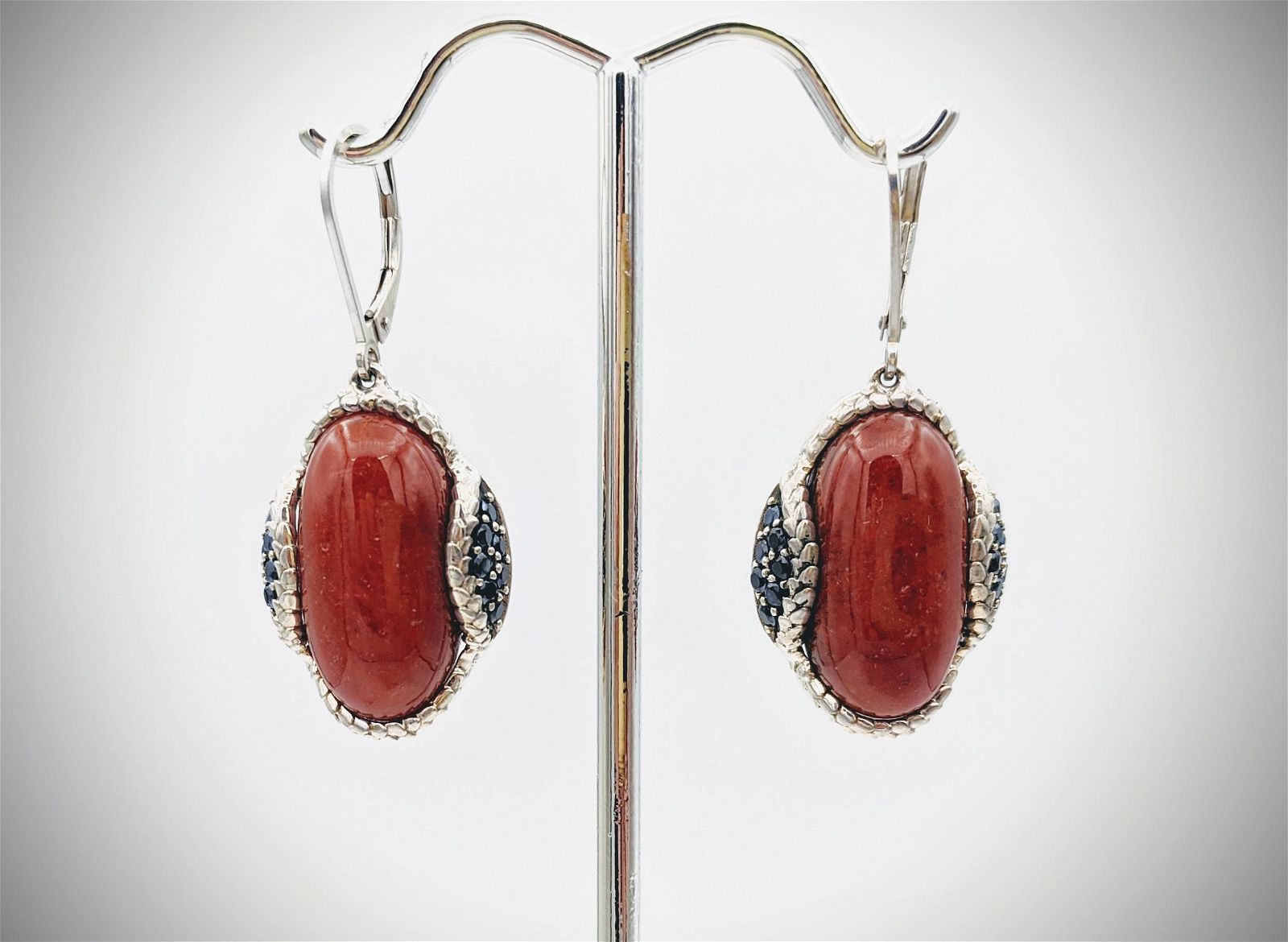 Sterling Silver Oval Jasper Earrings w Melanites
