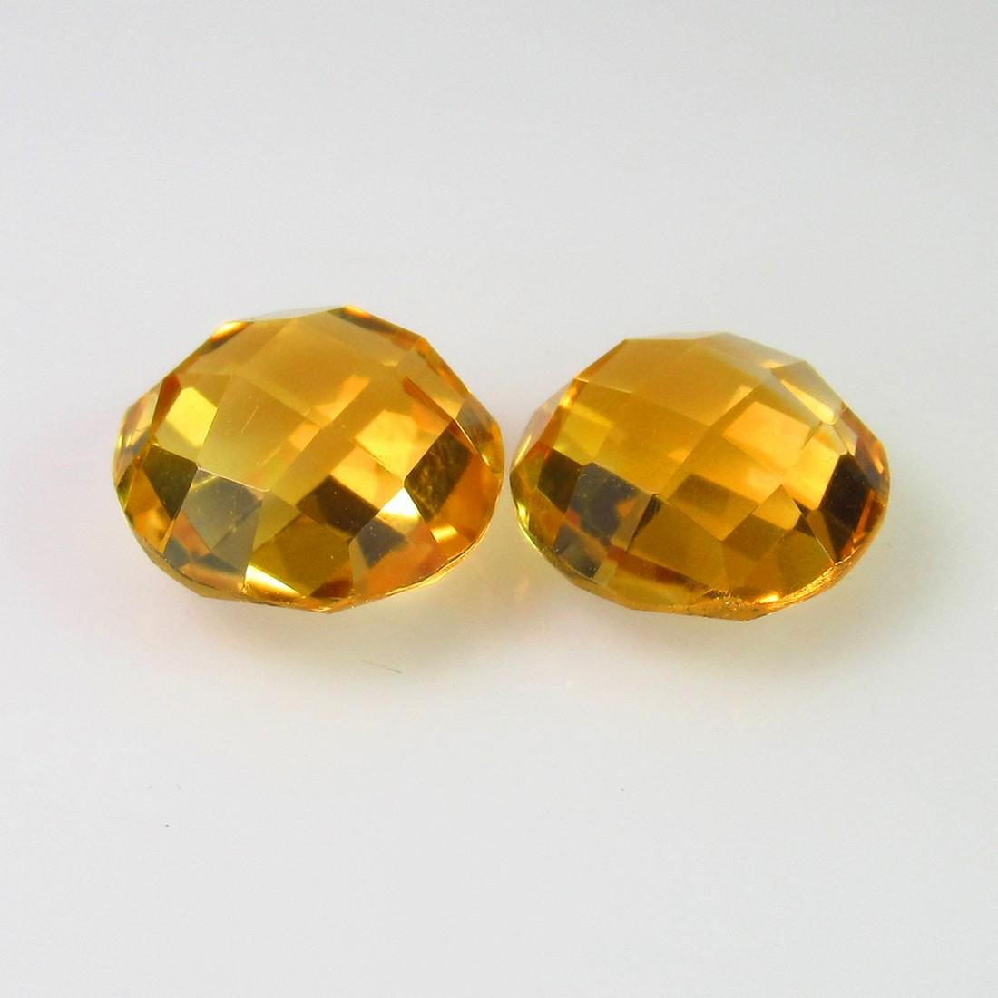 6.29 Ct Genuine Orange Yellow Citrine Round Pair