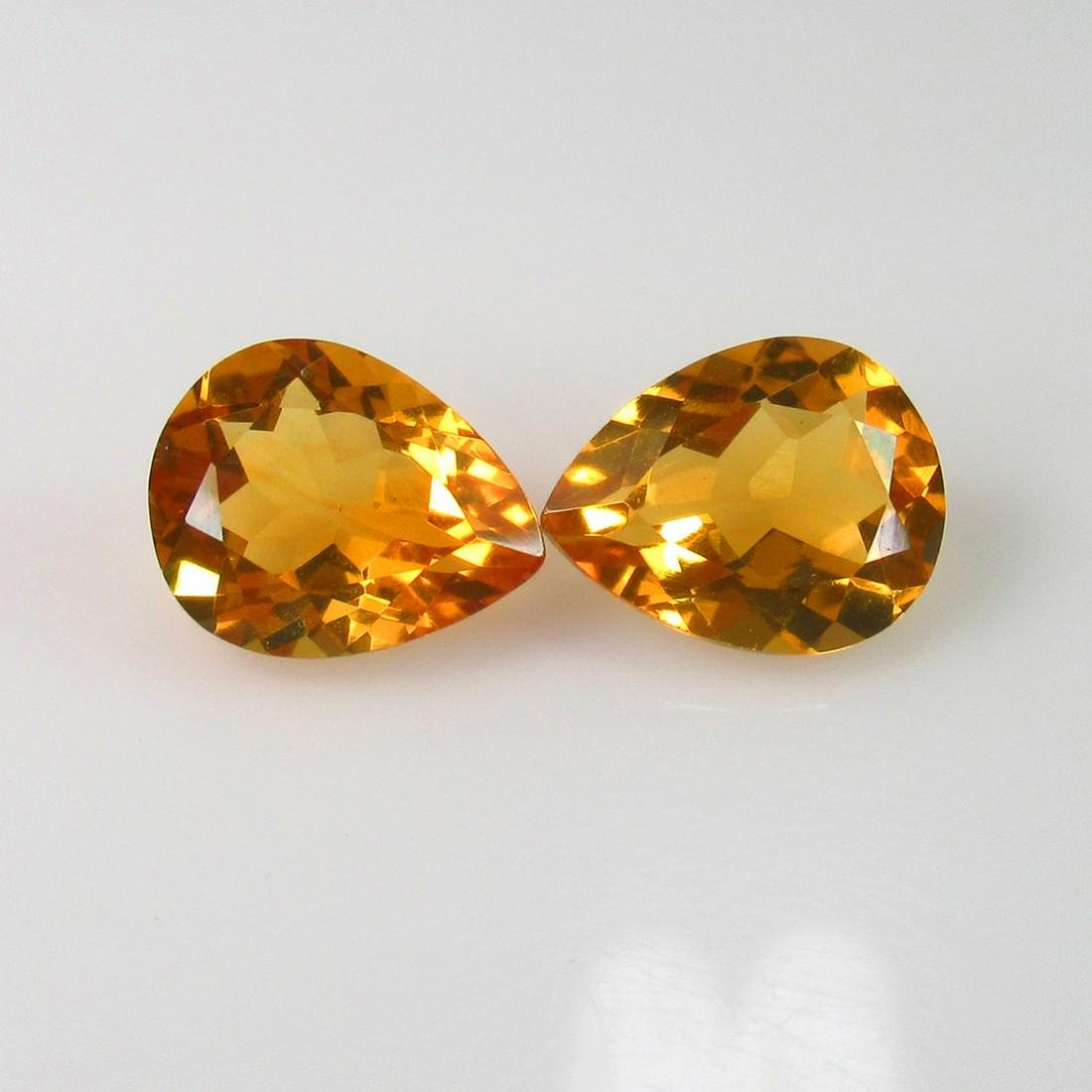 4.24 Ct Genuine Orange Yellow Citrine Pear Pair
