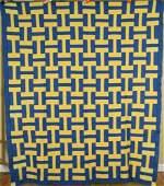 Blue  Yellow Roman Stripe Letter HAntique Quilt Top