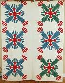 1860's Cactus Flower Red & Green Applique Antique Quilt