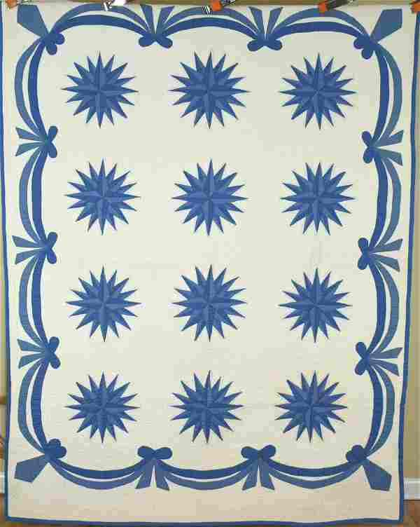 1940's Blue & White Mariner's Compass Quilt