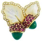 DIOR Yellow Gold Acorn Pin BROOCH Clip Pendant