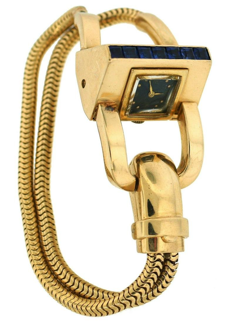 1940s J.E. CALDWELL SAPPHIRE YELLOW GOLD RETRO WATCH