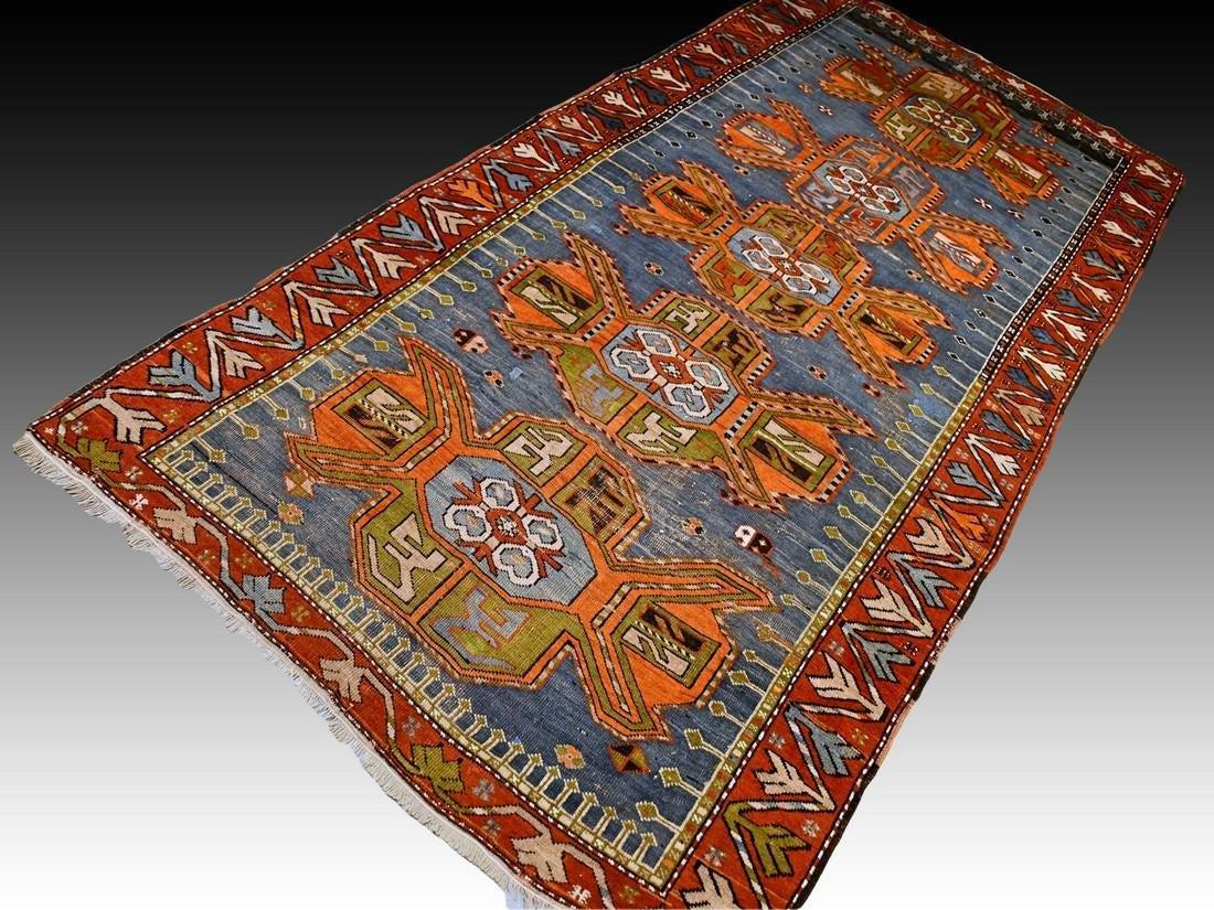 Antique Caucasian Kazak rug - 9.5 x 4.4