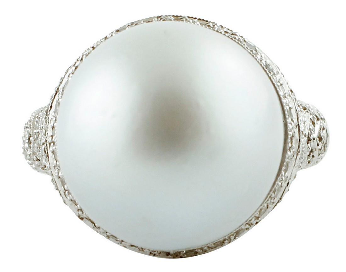 South Sea Grey Pearl, Diamonds, White Gold Ring