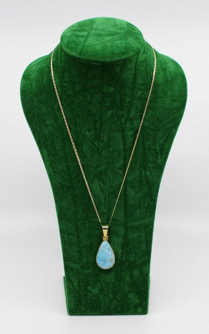 Blue Opal Pendant on 14ct Yellow Gold Chain