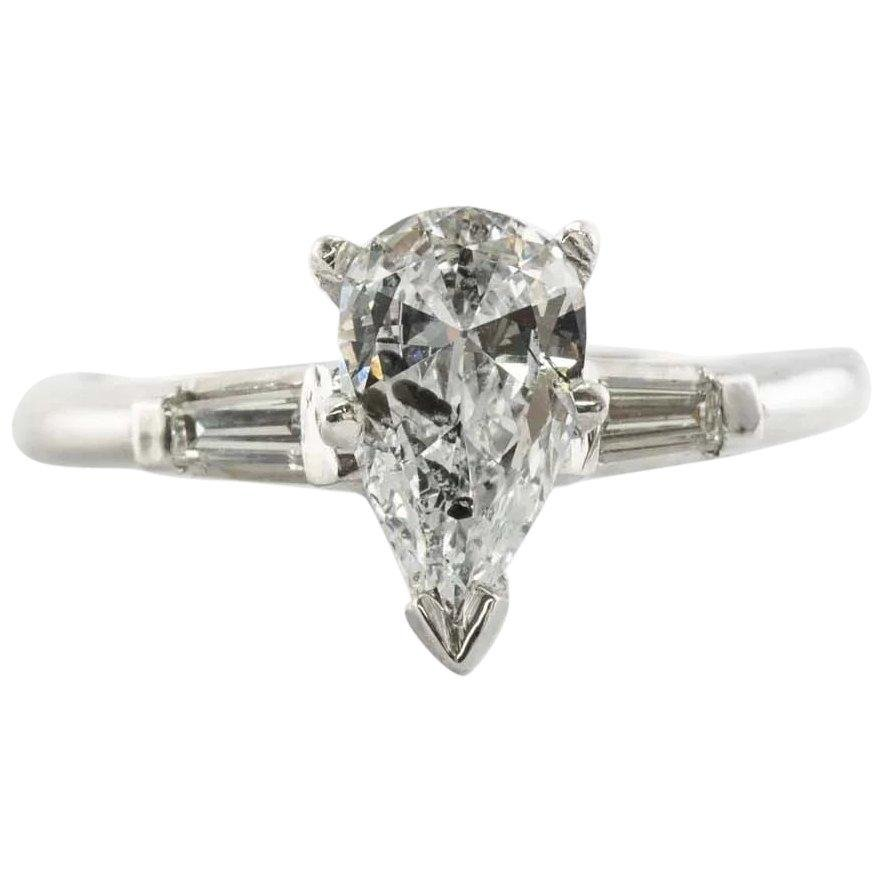 Natural Diamond Ring Engagement Marquise Baguette