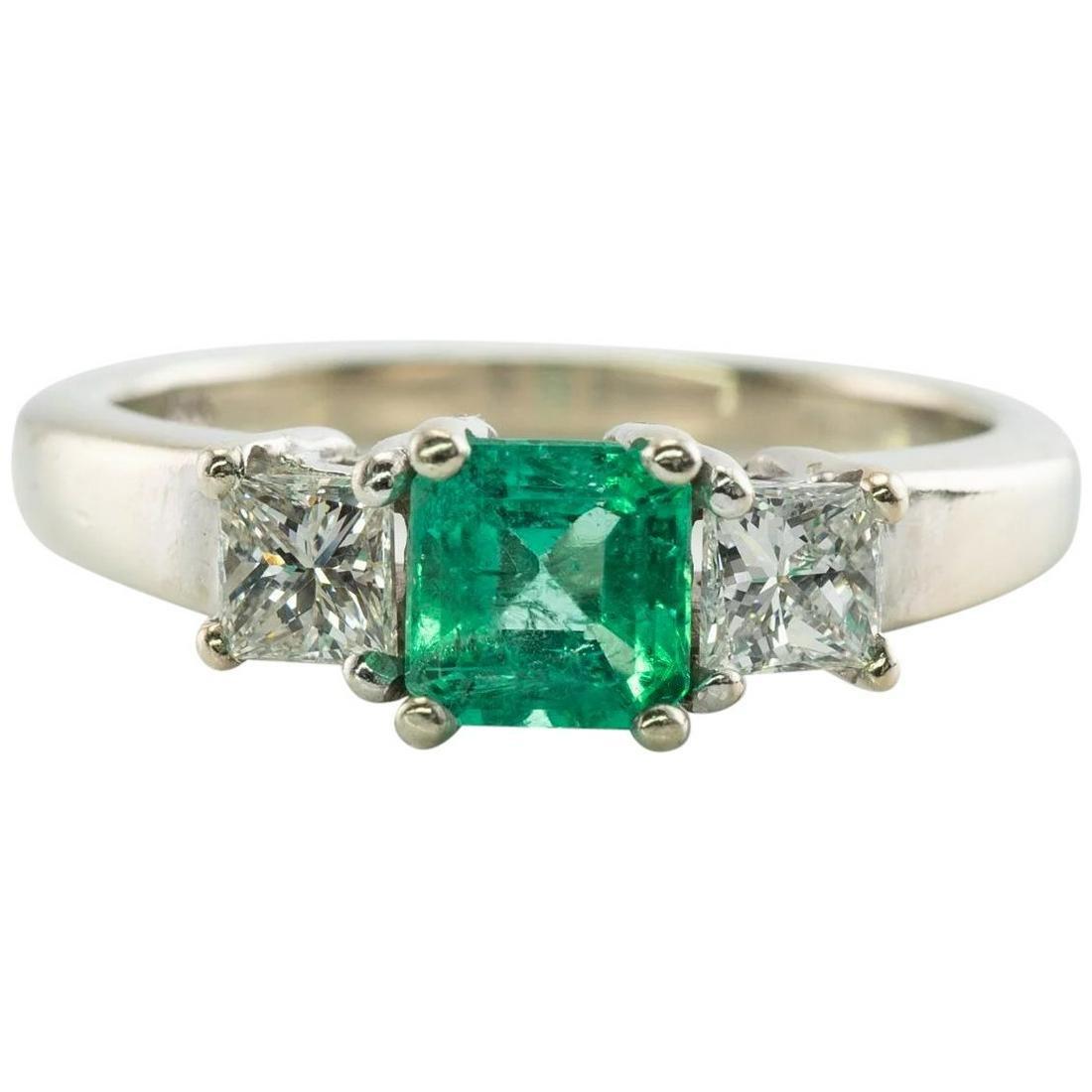 Colombian Emerald Diamond Band Ring 14K White Gold