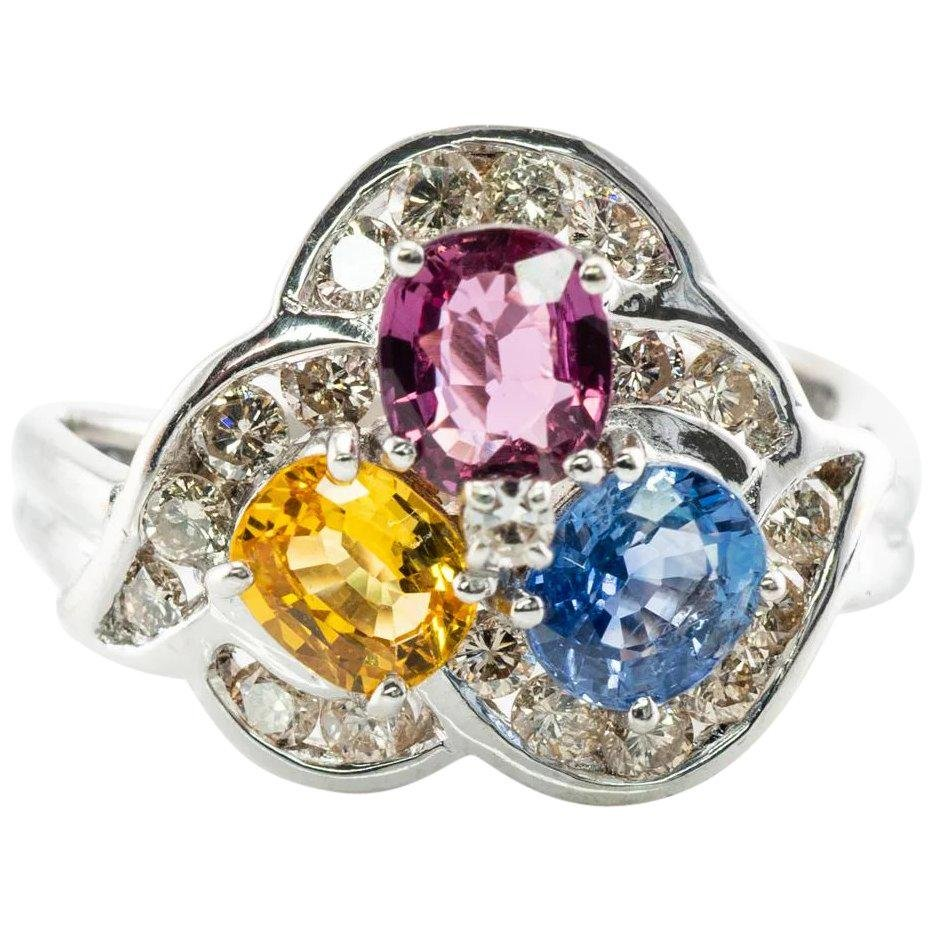 Natural Blue Pink Yellow Sapphire Diamond Ring 14K Gold