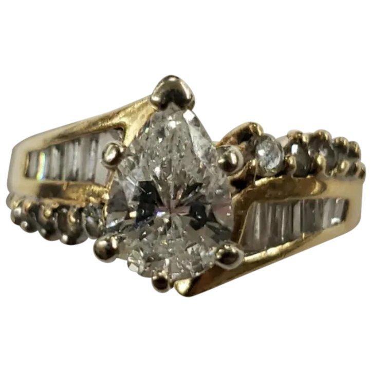Vintage 14K Yellow Gold 1CTW Pear Shaped Diamond