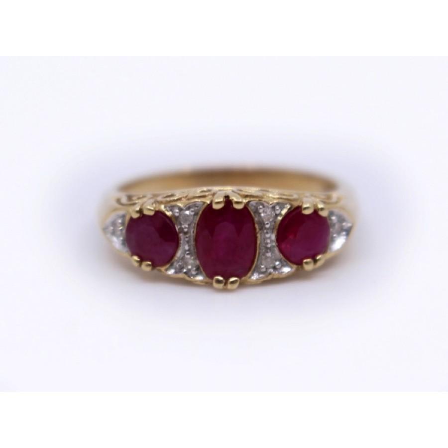Three Stone Ruby & Diamond 9ct Gold Ring