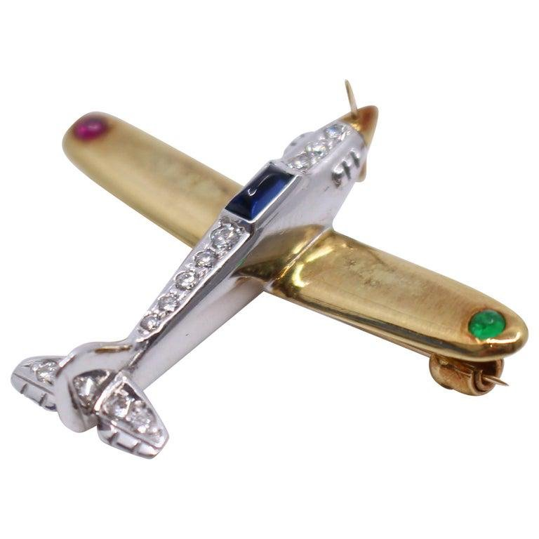 Diamond & Semi Precious Stone Set Gold Aeroplane Brooch