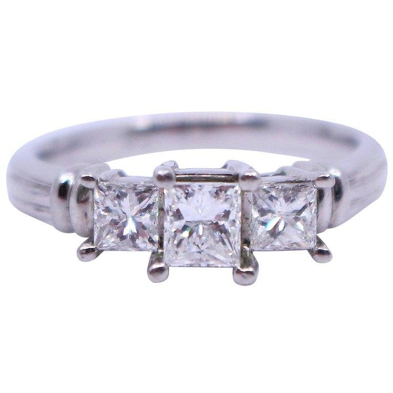 Three Stone 0.98 Carat Diamond Platinum Ring