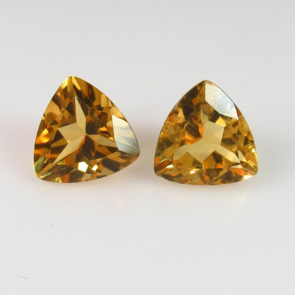 4.60 Ct Genuine Orange Yellow Citrine Trillion Pair