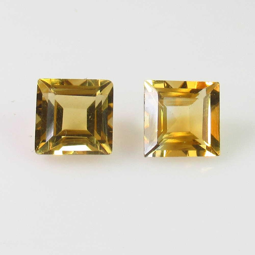 2.34 Ct Genuine Orange Yellow Citrine Square Pair