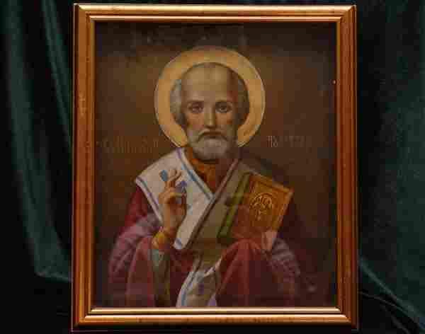 Antique 19C Russian Icon Of St. Nicholas