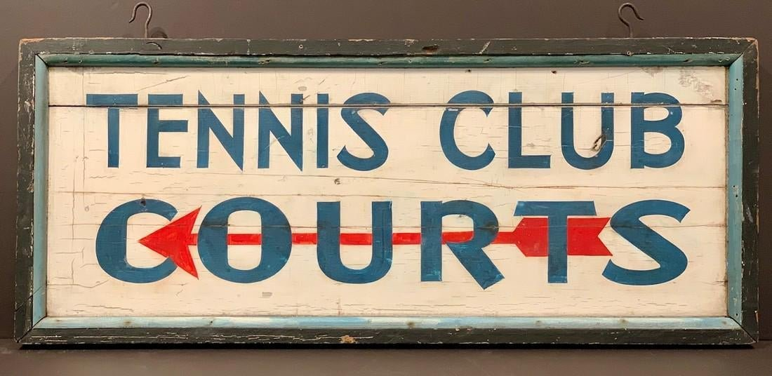 Early 20thC TENNIS COURTS Sign
