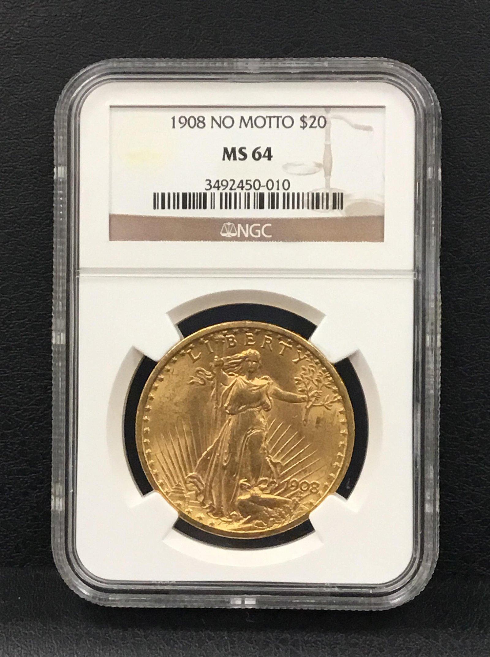 "1908 Saint-Gaudens Double Eagle ""No Motto"""