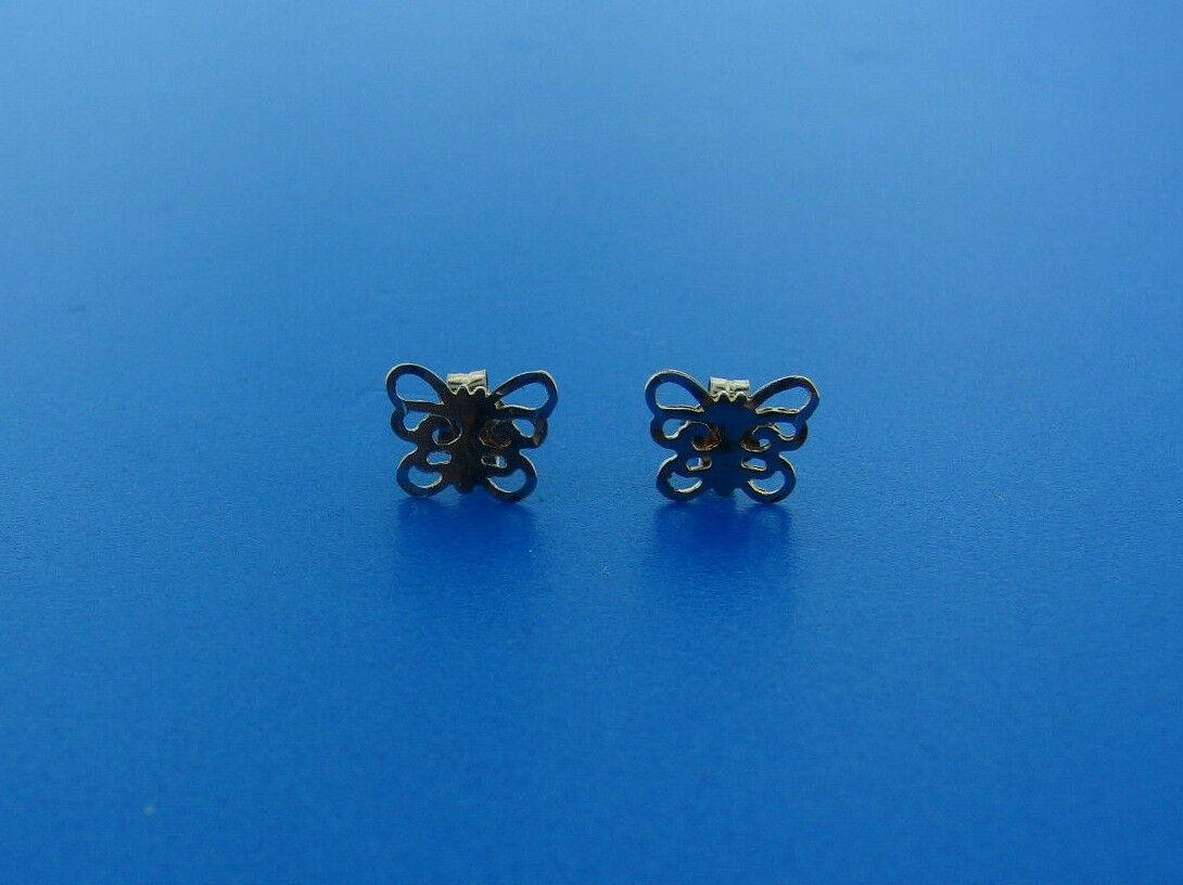 TINY ADORABLE 14 K YELLOW GOLD BUTTERFLY EARRINGS