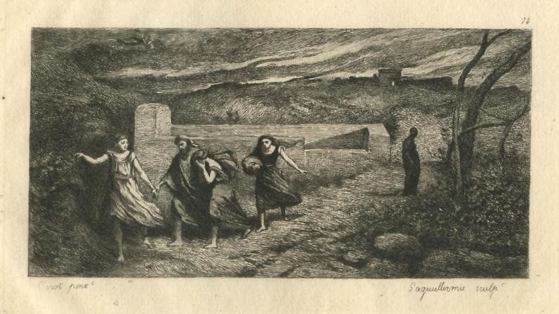 "Jean-Baptiste Corot etching ""The Burning of Sodom"""