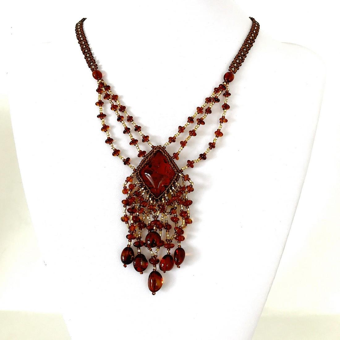 Unique and Incredible Amber Floral Necklace made from