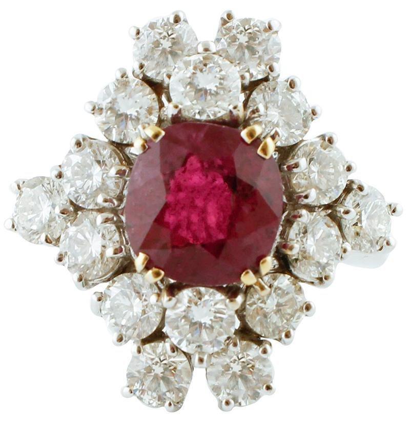 3.06ct Ruby, 3.31ct Diamonds, 18k White Gold Ring