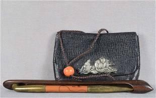 19c Japanese tobacco POUCH ojime KISERUZUTSU pipe
