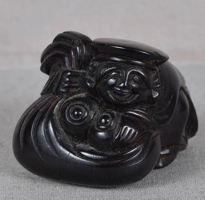 18c netsuke DAIKOKU with Precious Gems & bag