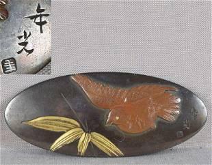 1910s OBIDOME netsuke BIRD & bamboo by TOSHIMITSU