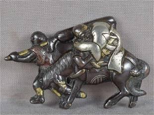 19c mixed metal OBIDOME netsuke SCHOLAR on donkey